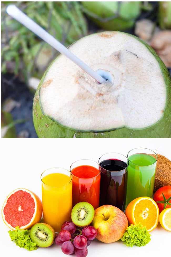Sử dụng nước dừa và nước trái cây để giải rươu là giải pháp tốt